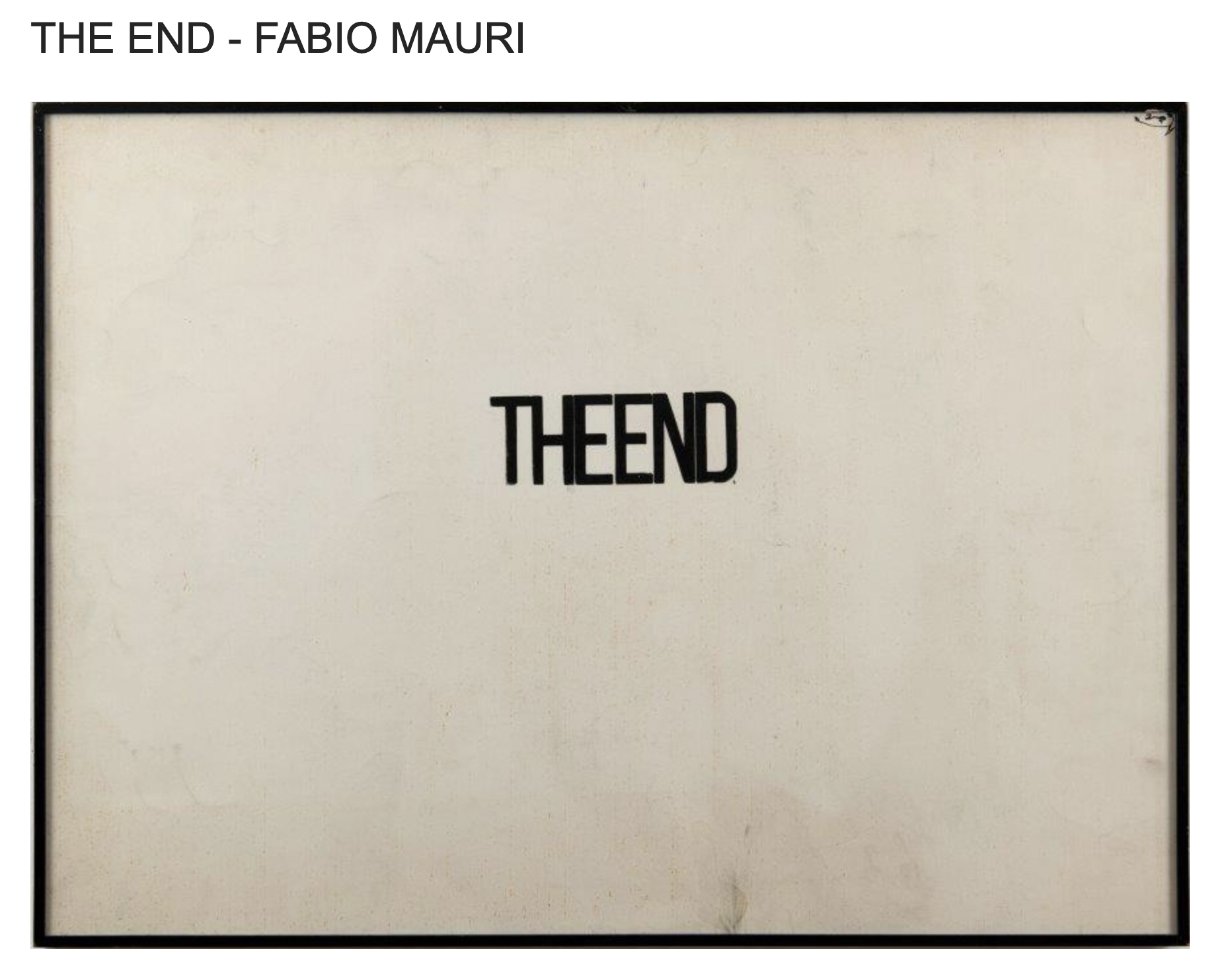 The End - Fabio Mauri